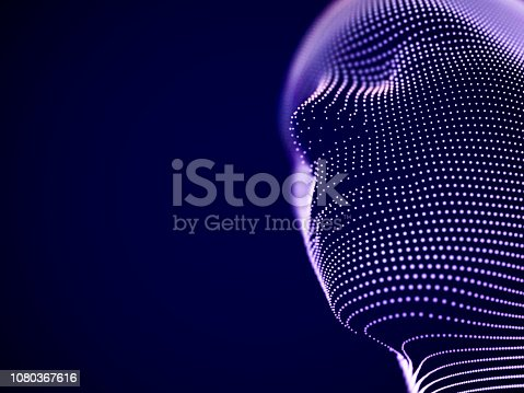 Concept of virtual reality or cyberspace: male face consisting of particles. Futuristic man or robot head. Abstract visualization of artificial intelligence and future. EPS 10, vector illustration.
