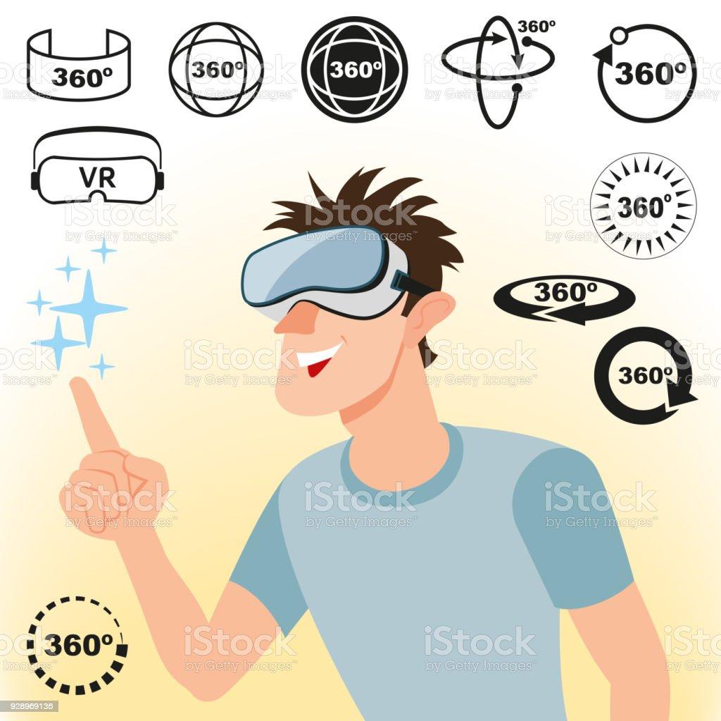 Concepto de realidad virtual y un conjunto de iconos - ilustración de arte vectorial