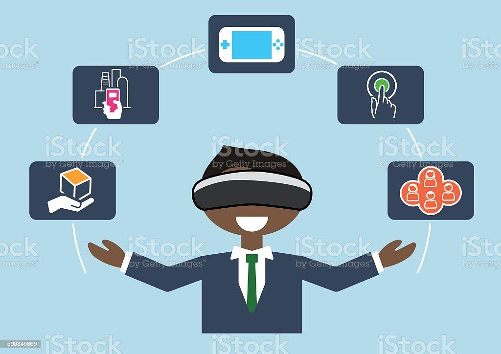 Virtual reality concept as vector illustration of business man Lizenzfreies virtual reality concept as vector illustration of business man stock vektor art und mehr bilder von ausrüstung und geräte