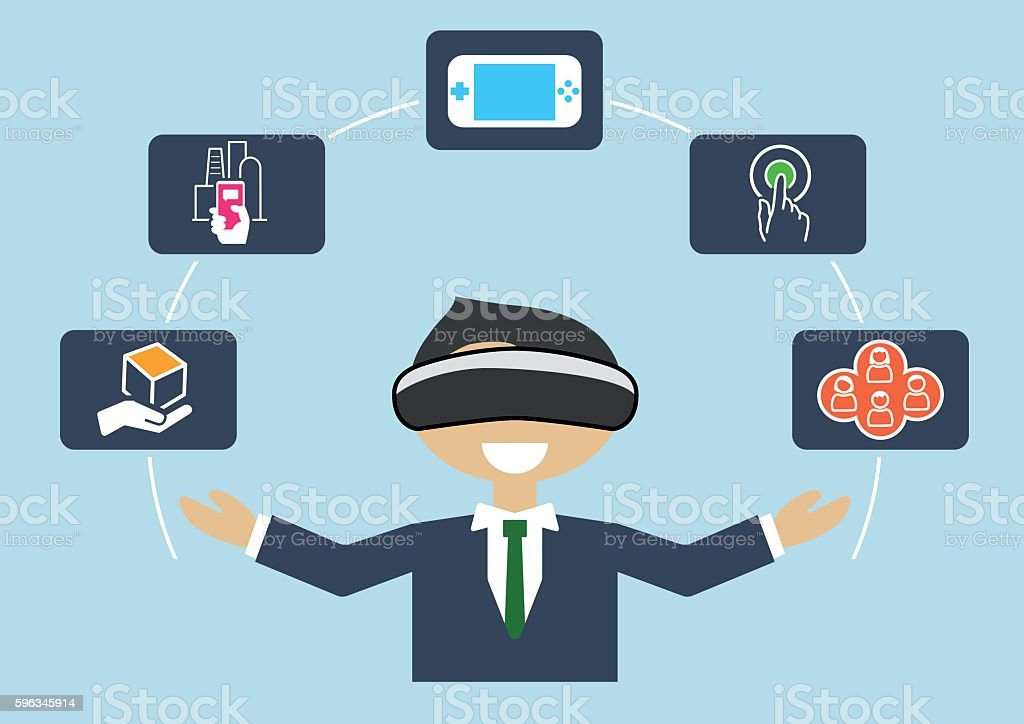 Virtual reality concept as vector illustration of business man royalty-free virtual reality concept as vector illustration of business man stock vector art & more images of adult