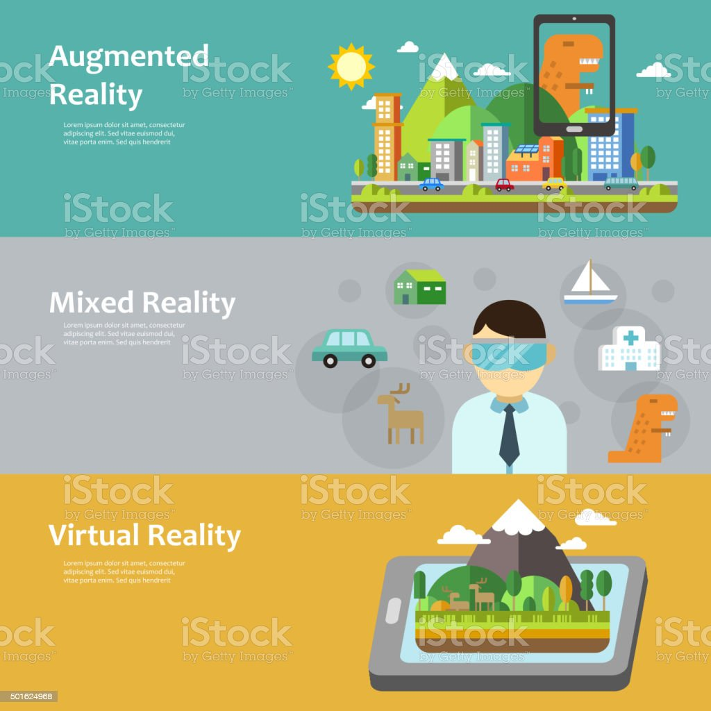 virtual reality concept collection vector art illustration