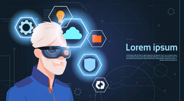 virtual reality concept portrait of senior man wearing vr headset glasses digital goggles - old man mask stock illustrations