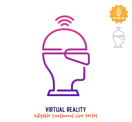 Virtual Reality Continuous Line Editable Stroke Icon