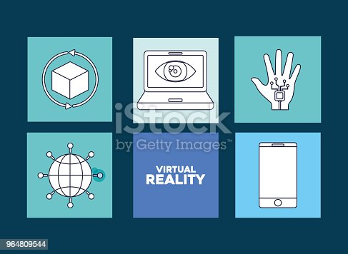 Virtual Reality Design Stock Vector Art & More Images of 360-Degree View 964809544