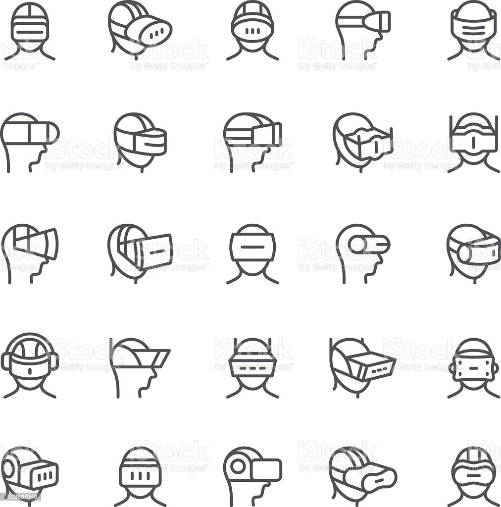 Virtual Reality device icons vector art illustration
