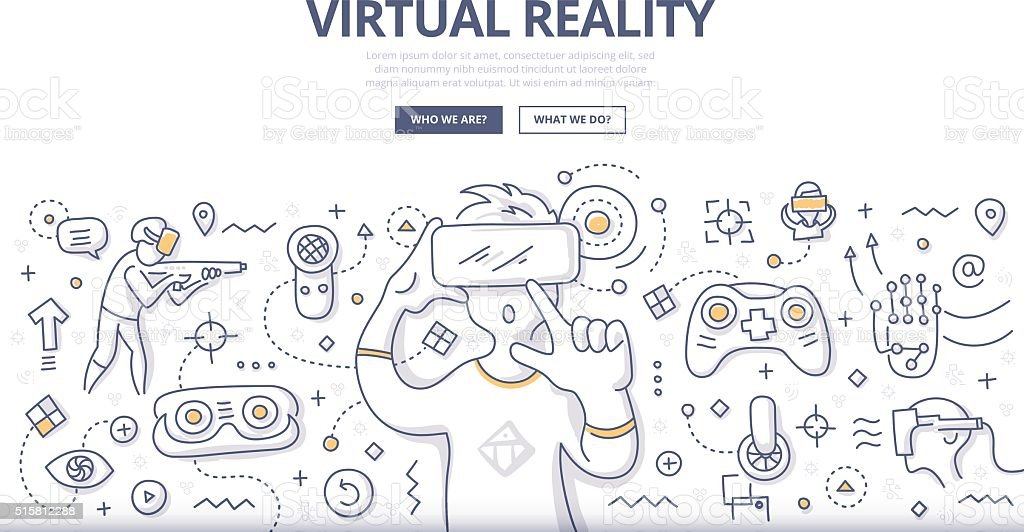 Virtual Reality Doodle Concept vector art illustration