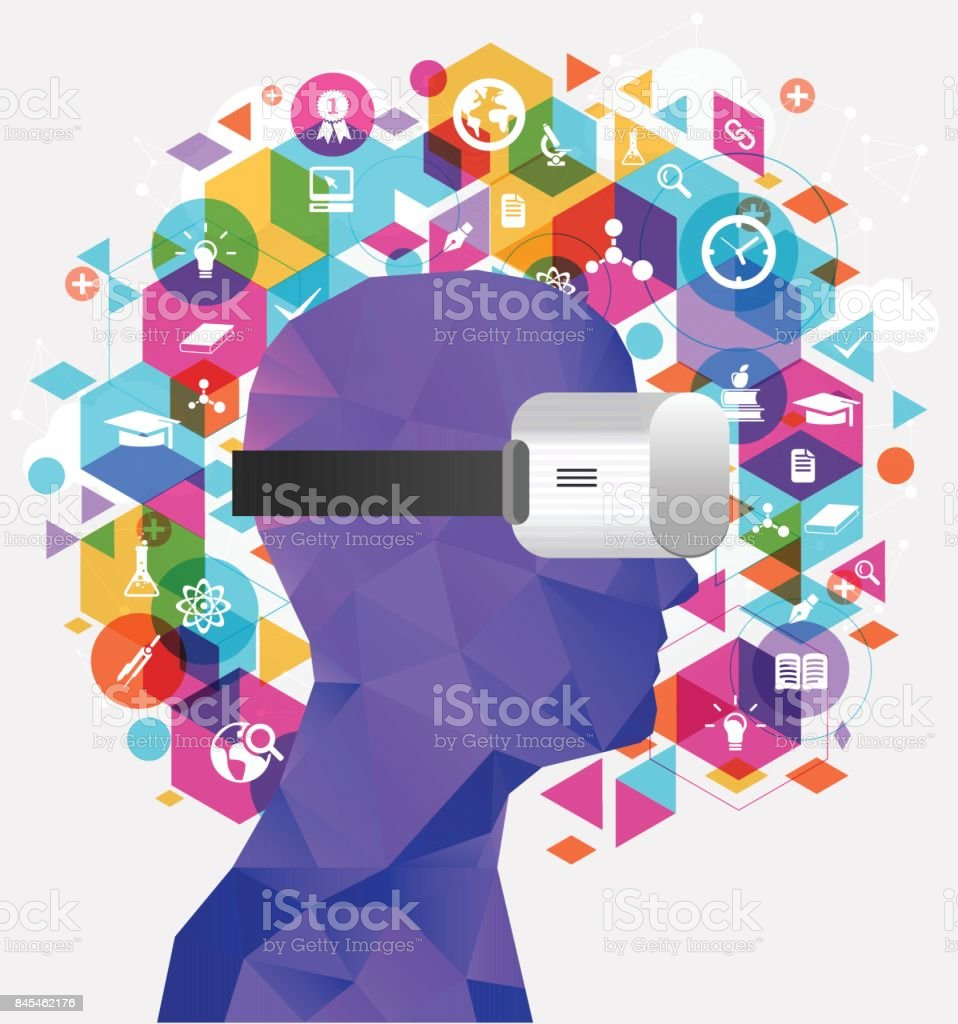 Virtual reality education Virtual reality based education icon 360-Degree View stock vector