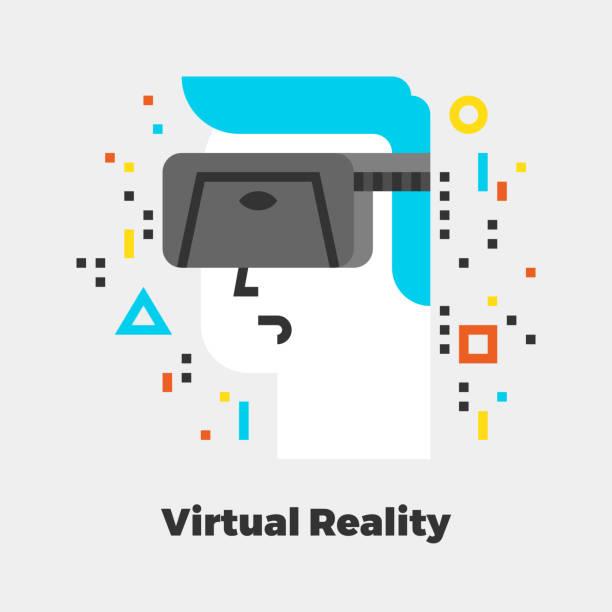 virtuelle realität flache abbildung - extravagant schutzbrille stock-grafiken, -clipart, -cartoons und -symbole