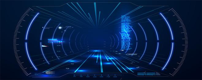 Virtual reality. Futuristic VR Head-up Display Design. Sci-Fi Helmet HUD. Future Technology.  Hi tech future design