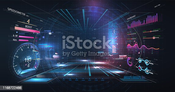 istock Virtual reality. Futuristic VR head-up display design. Sci-Fi helmet HUD, GUI,UI. Futuristic display with data, speedometer and statistics panel. Cockpit of futuristic autonomous car. High tech screen 1168722466