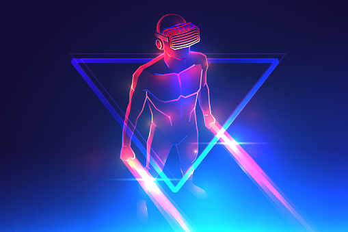 Virtual reality game. Man wearing vr headset and using light saber in abstract digital world with neon lines