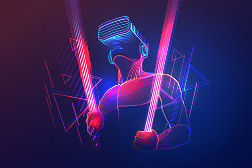 Virtual reality gaming. Man wearing vr headset and using light saber in abstract digital world with neon lines. Vector illustration