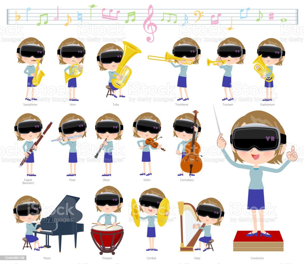 Virtual Reality Goggle Womenclassic Music Stock Illustration