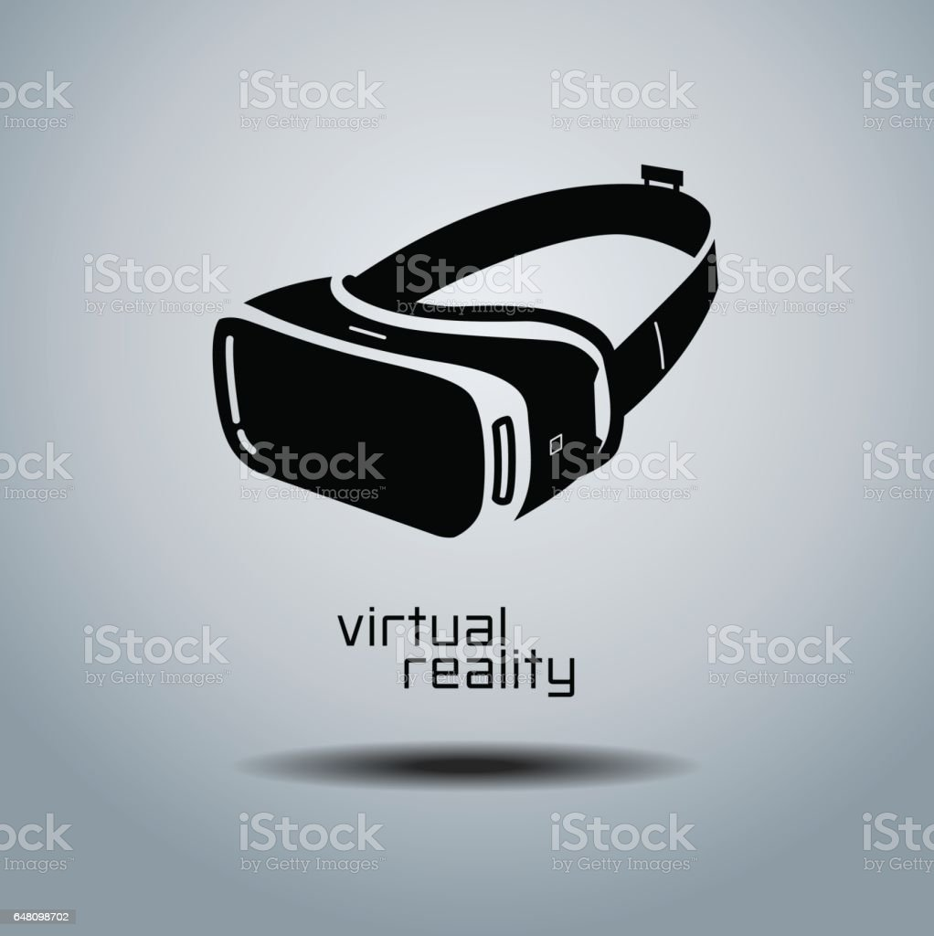Virtual reality headset icon, flat design, vector, icon, design, black & white, VR vector art illustration