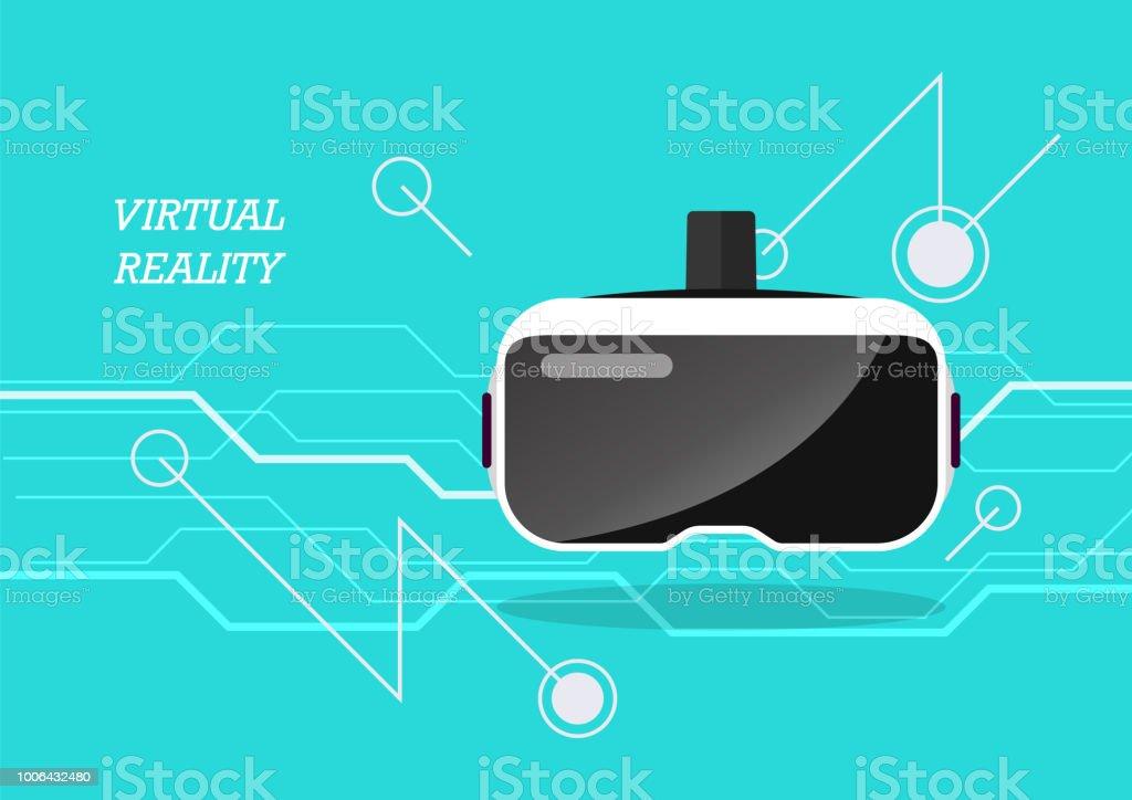 Virtual reality headset poster vector art illustration