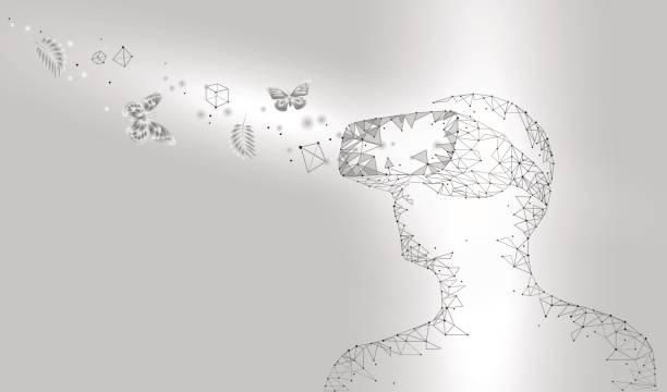 Virtual-Reality-Helm-Glas-Kopfhörer. – Vektorgrafik