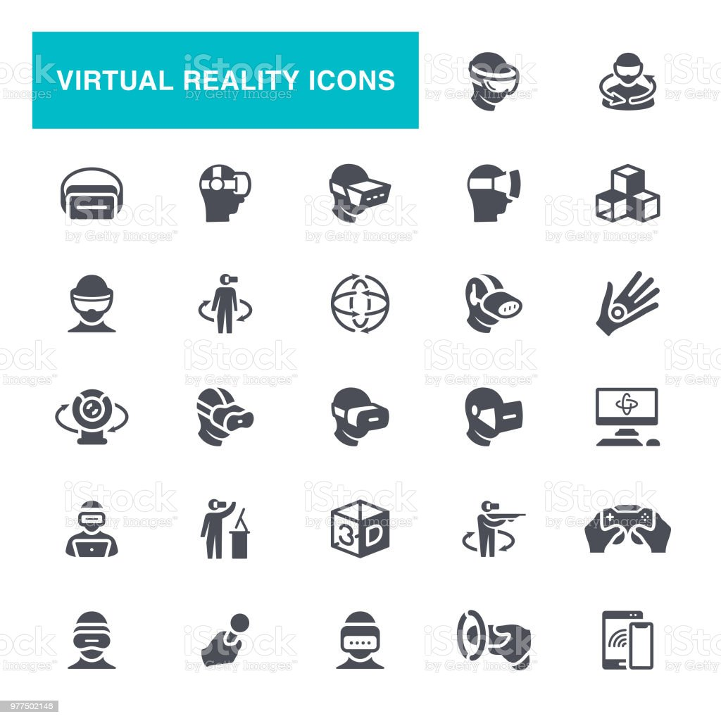Virtual Reality Helmet Icons vector art illustration