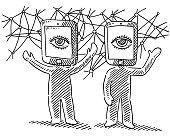 Virtual Reality Human Figures Concept Drawing