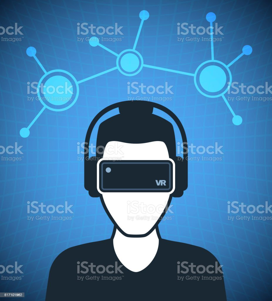 Virtual reality icon, men with glasses and headset vector art illustration