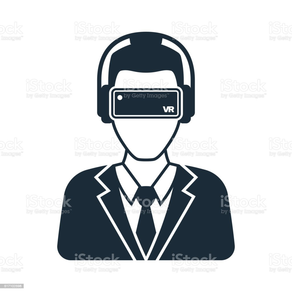 Virtual reality icon men with glasses and headset vector art illustration