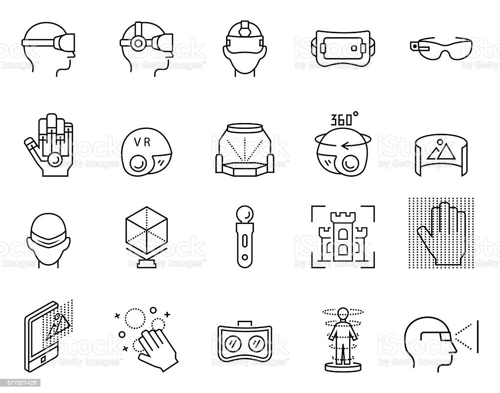 Virtual reality icon set in thin line style. Vector illustration. vector art illustration
