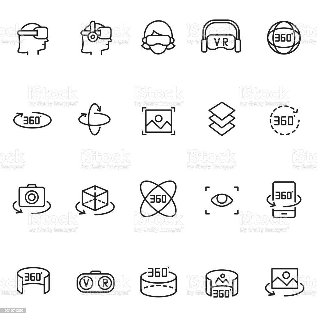 Conjunto de iconos de realidad virtual - ilustración de arte vectorial