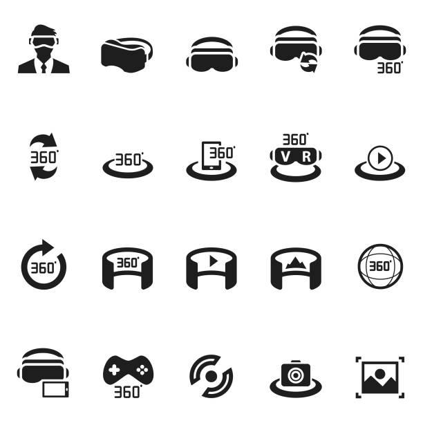ilustraciones, imágenes clip art, dibujos animados e iconos de stock de conjunto de iconos de realidad virtual - 360