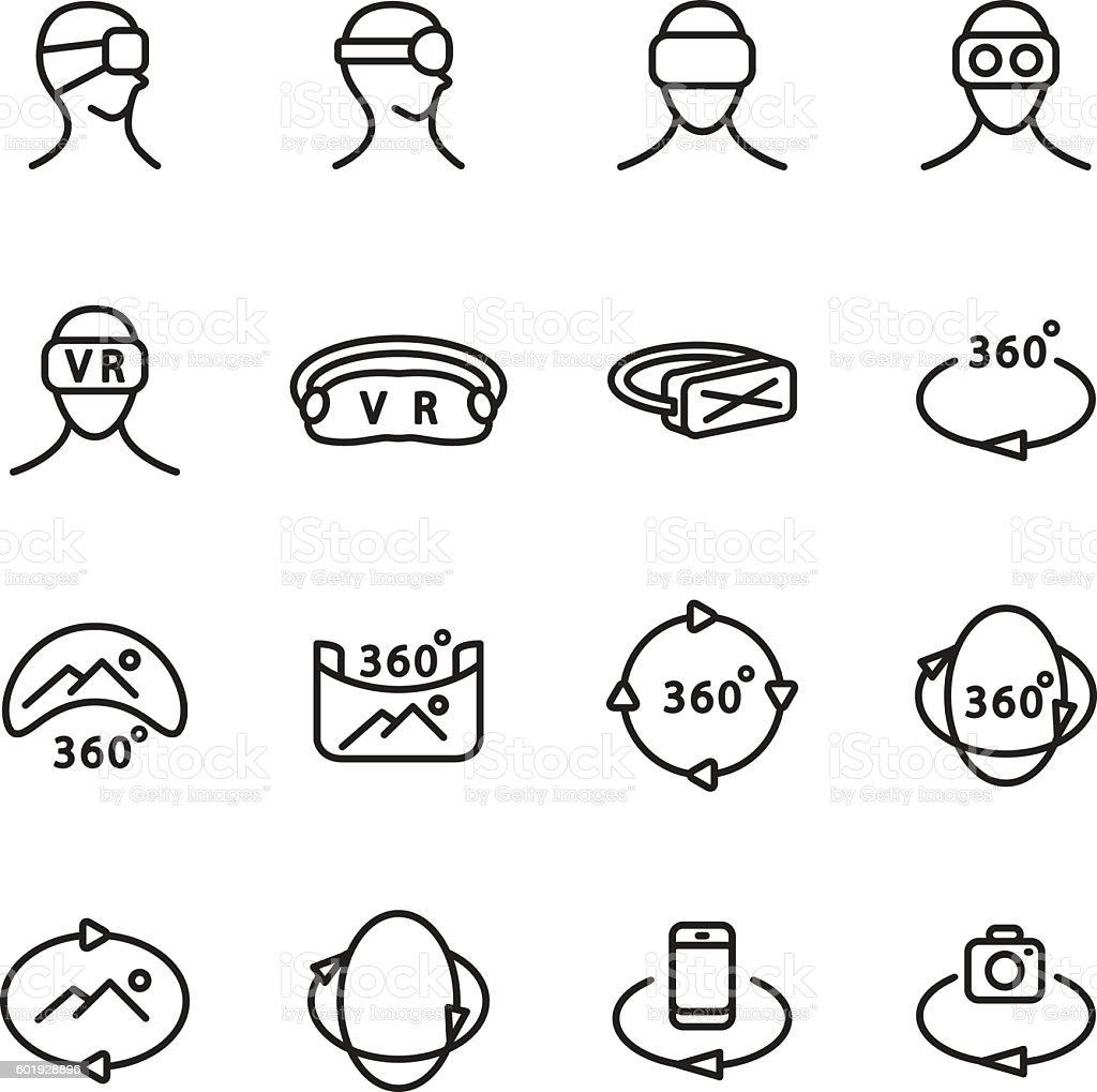 Virtual reality icon set. Vector illustration. – Vektorgrafik