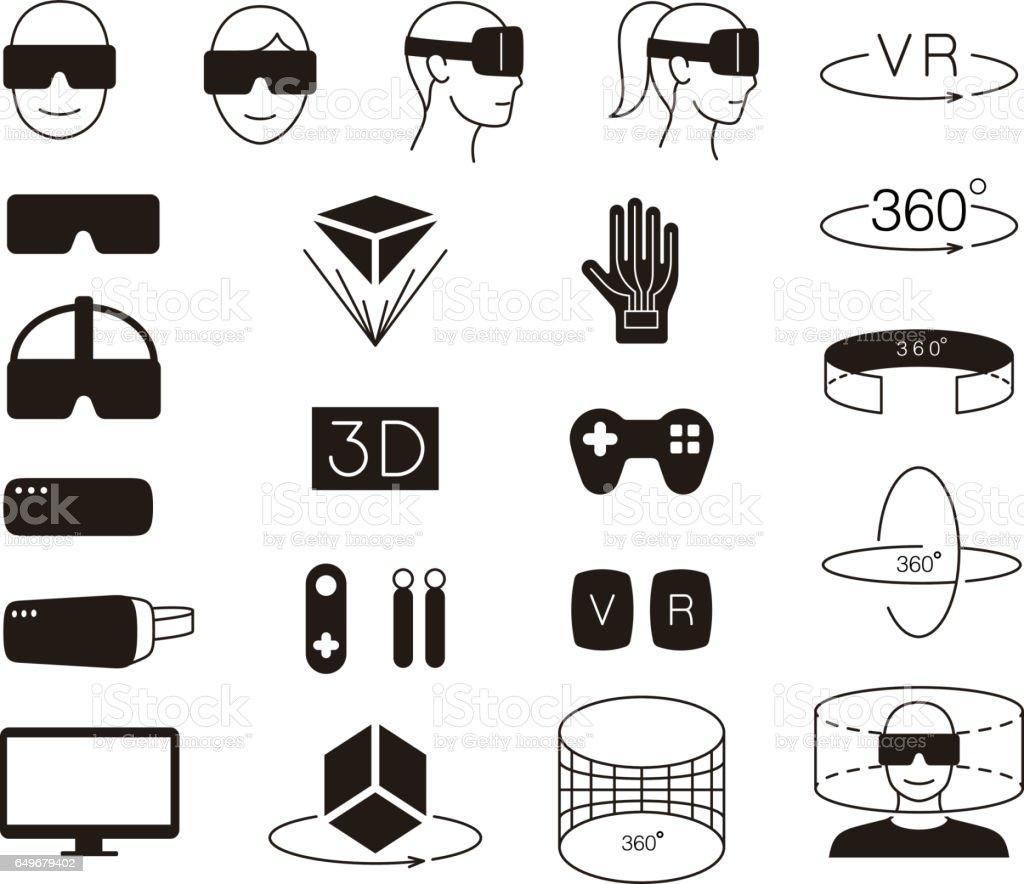 Jeu d'icônes de réalité virtuelle. illustrator vectoriel - Illustration vectorielle
