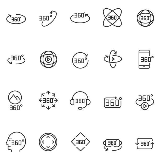 ilustraciones, imágenes clip art, dibujos animados e iconos de stock de icono de realidad virtual - 360