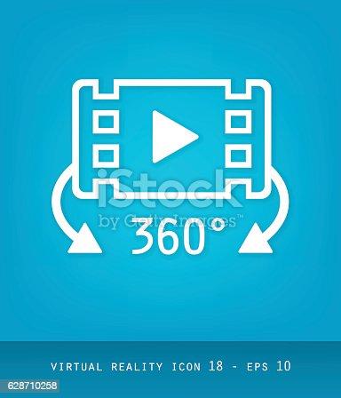 Série ícones de realidade virtual, vídeo flat 2.0 - 360 graus