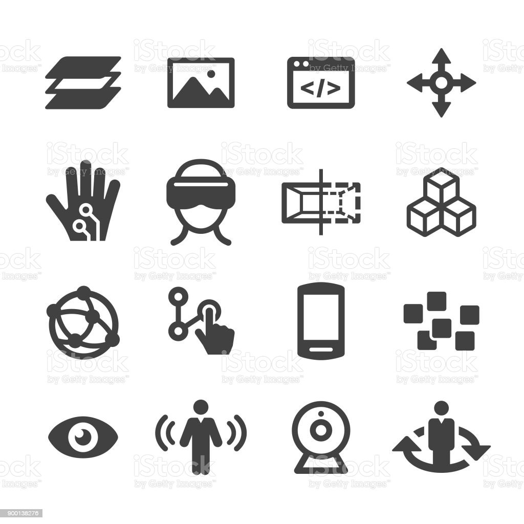 Virtual Reality Icons Set - Acme Series vector art illustration