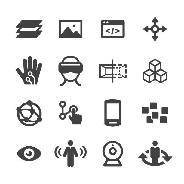 Virtuelle Realität Icons Set - Acme-Serie – Vektorgrafik