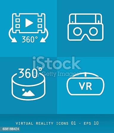 Ícones de realidade virtual definem série, design 2.0 flat 01