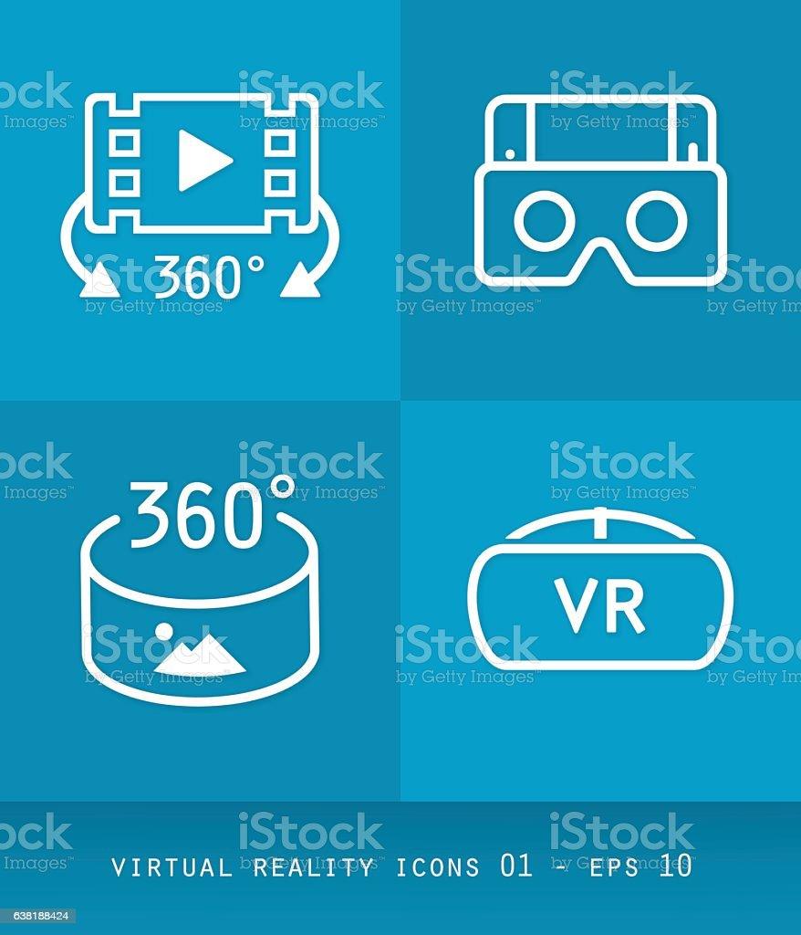 Virtual Reality Icons Set Series, Flat 2.0 Design 01 – Vektorgrafik