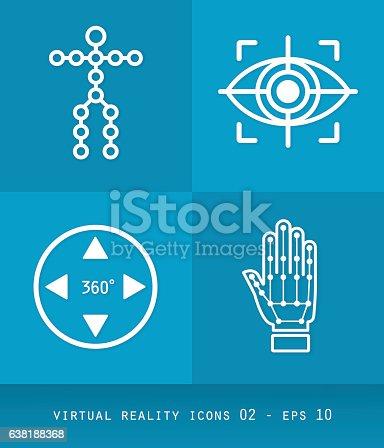 Ícones de realidade virtual definem série, design 2.0 flat 02