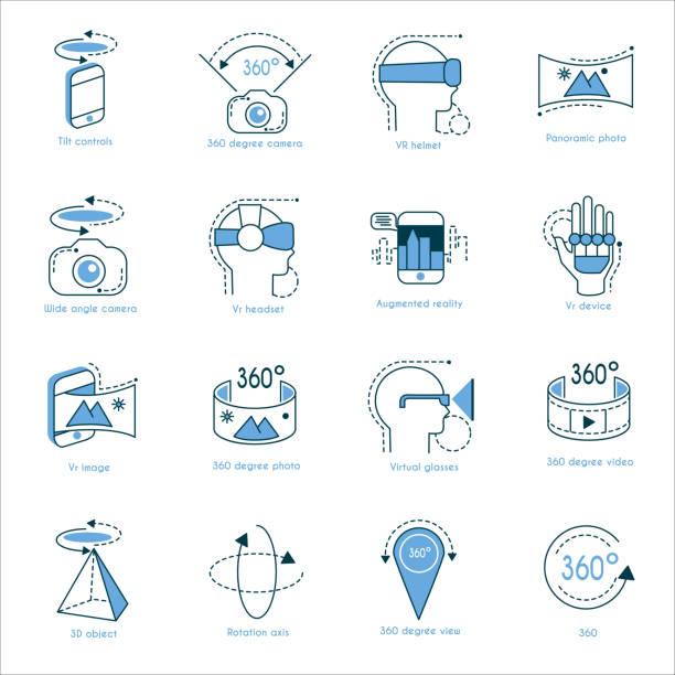 ilustraciones, imágenes clip art, dibujos animados e iconos de stock de conjunto de iconos de la realidad virtual - 360