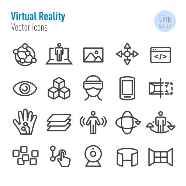ilustraciones, imágenes clip art, dibujos animados e iconos de stock de conjunto de iconos de realidad virtual-serie vector line - 360
