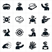 A set of virtual reality icons. The icons include several different instances of a person using a virtual reality headset. The icons also include a virtual reality headset, smartphone, VR glove and other virtual reality related gear.