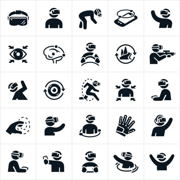Virtual Reality Icons A set of virtual reality icons. The icons illustrate several different people engaging in VR scenarios. vr stock illustrations