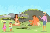 Virtual reality learning, education and vr technologies. Vector illustration of history teacher and schoolchildren in vr glasses looking at stone age family couple making hunting tools stone spears.