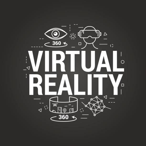 stockillustraties, clipart, cartoons en iconen met virtuele realiteit letters op een zwarte - board game outside