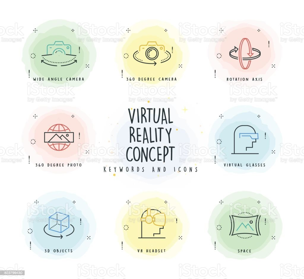 Virtual Reality Line Icon Set with Watercolor Patch vector art illustration