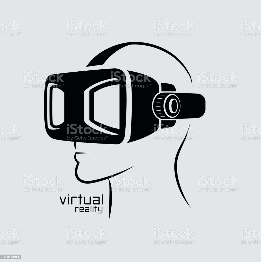 Virtual reality logo, flat design, vector, icon,  black & white, VR vector art illustration