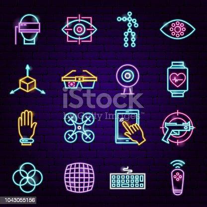 Virtual Reality Neon Icons. Vector Illustration of VR Technology Symbols.