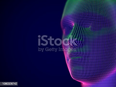 Virtual reality or cyberspace concept: wireframe of male face. Digital human or robot head - abstract visualization of artificial intelligence and future technology. EPS 10, vector illustration.
