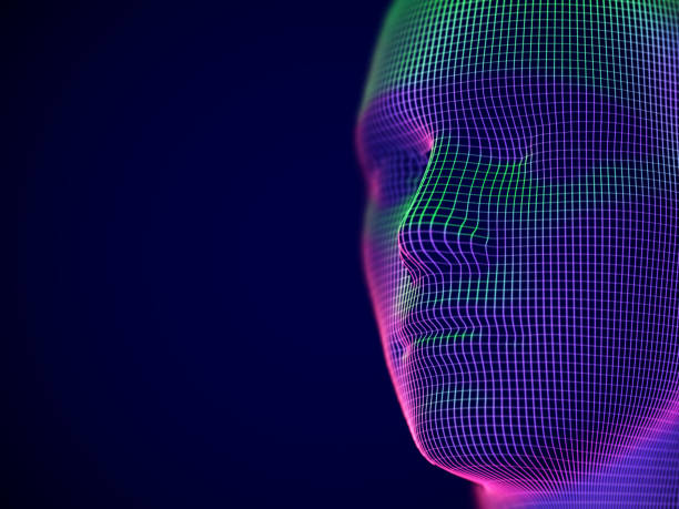 virtual reality or cyberspace concept: wireframe of male face. - wire frame model stock illustrations