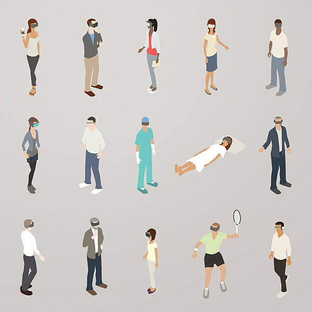 virtual reality people illustration - mathisworks people icons stock illustrations, clip art, cartoons, & icons