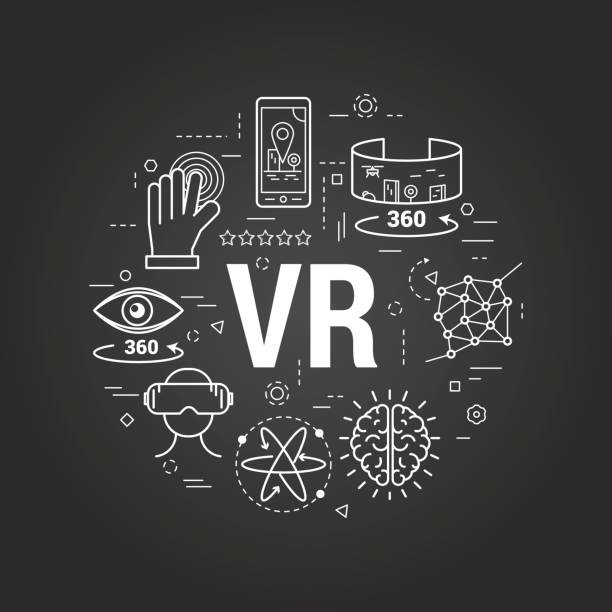 stockillustraties, clipart, cartoons en iconen met virtual reality - rode lijn art concept - board game outside