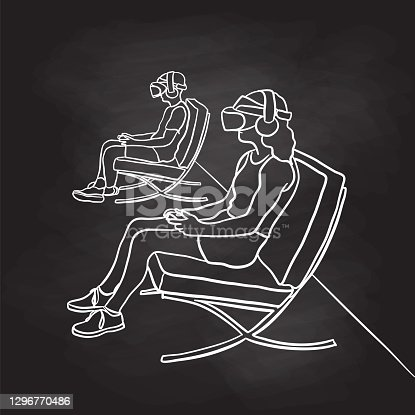 Vector illustration of boy and girl using virtual reality headset to play games.